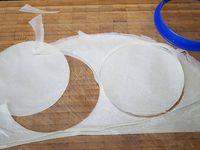 1 - Mettre le four à préchauffer th 6 (180°). Découper 4 disques avec un emporte-pièce dans la feuille de brick. Les badigeonner de beurre fondu avec un pinceau. Superposer 2 fois 2 disques et les placer sur une feuille de papier sulfurisé, recouvrir d'une feuille de papier sulfurisé, poser un poids sur le tout (plaque ou moule) et enfourner pour 4 à 5 mn.  Sortir du four, retirer le papier sulfurisé et laisser refroidir.