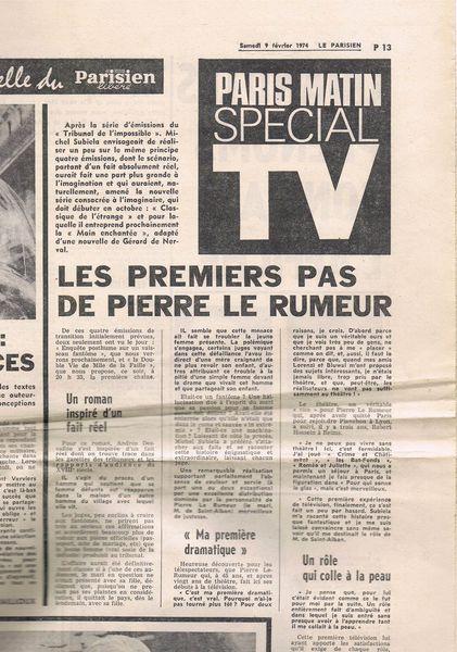 Les premiers pas de Pierre Le Rumeur
