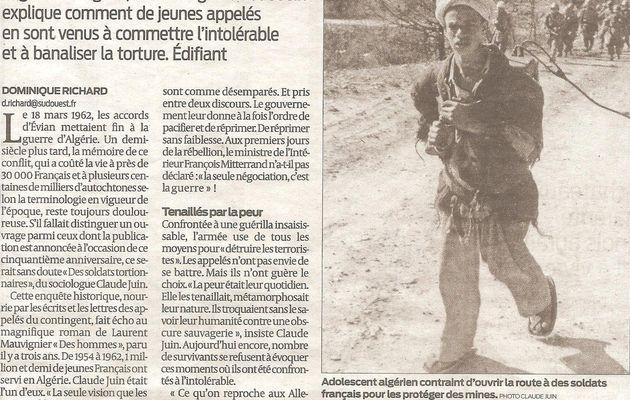 """""""Des soldats Tortionnaires"""" Sud Ouest 26-02-2012"""