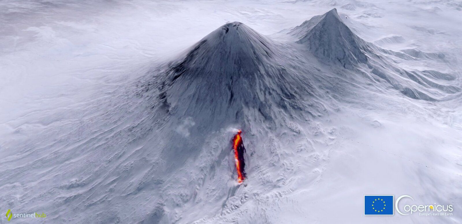 Klyuchevskoy - the lava from the flank eruption on the snow this 13.03.2021 - Sentinel-2 image via Coperncus - one click to enlarge