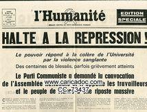 «Halte à la répression», L'Humanité, 11/5/1968.