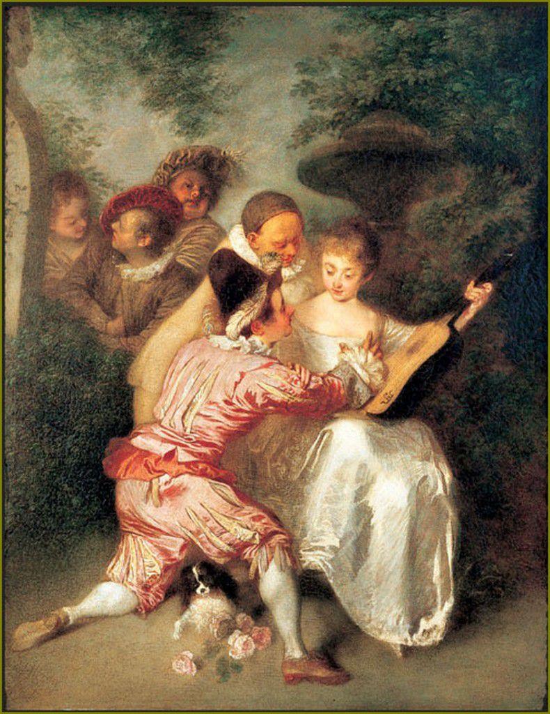 commedia dell'arte par les grands peintres -  Antoine Watteau  Le conteur