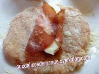 cordon bleu de poulet au jambon cru-coppa- mozzarella et spaghettis aux champignons