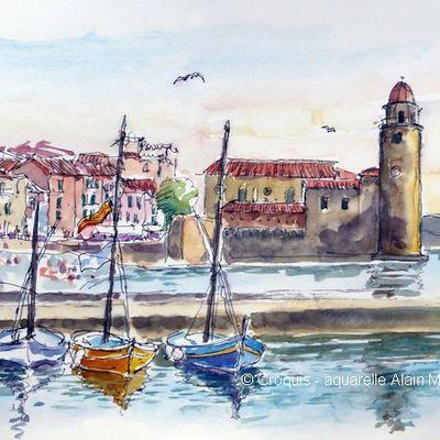 Un petit bonjour du stage aquarelle de voyage en Catalogne – châteaux cathares.