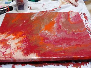 applications de technique de peinture acrylique : pouring
