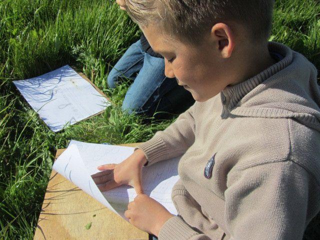 Nous avons dessiné au crayon à papier ce que nous avons vu, et ensuite on a mis de la couleur en se servant de couleurs naturelles. Il y en a beaucoup! Du vert, du jaune, du marron ... Il faut juste regarder autour de soi.
