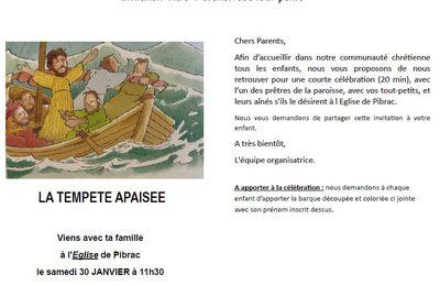 Invitation à la célébration des Tout-petits samedi 30 janvier à 11h30 à l'église de Pibrac