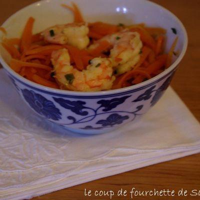Poelée de carottes aux crevettes