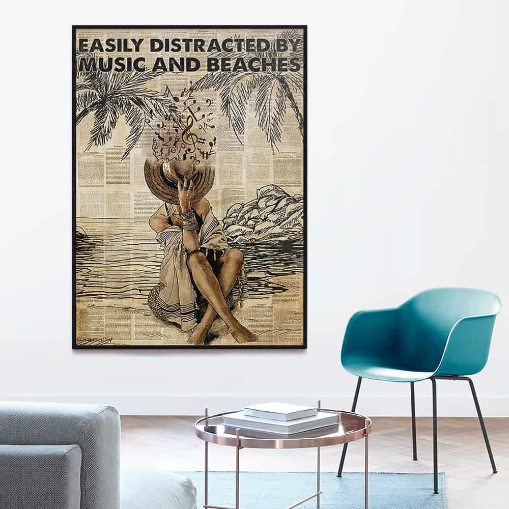 Girl Easily Distracted By Music And Beaches Drawing poster, canvas