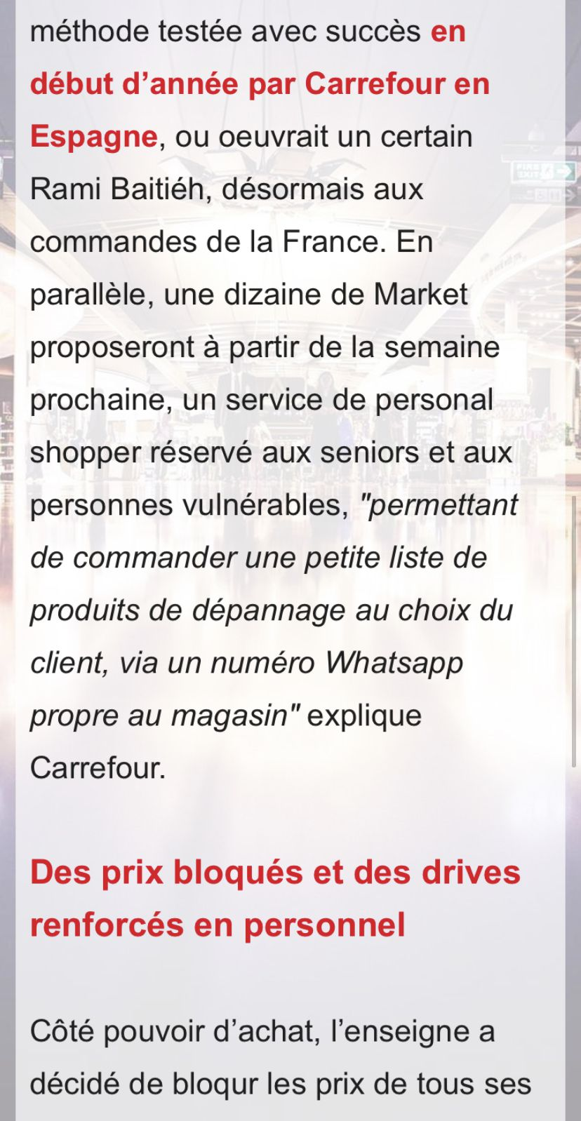 Commande via WhatsApp,blocage des prix,personnel shopper :Carrefour multiple les initiatives