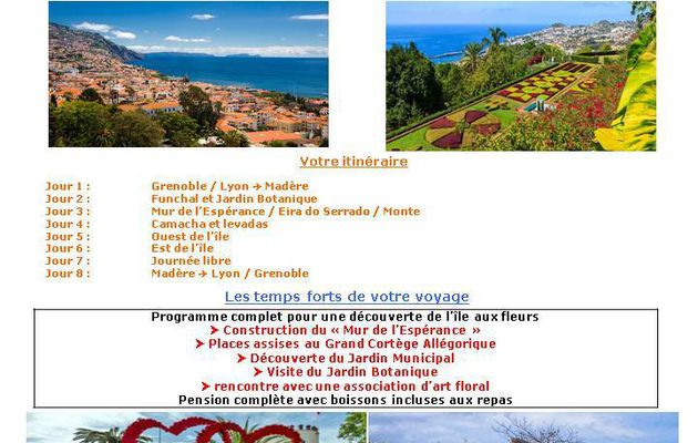 Annonce : VOYAGE A MADERE EN MAI 2017