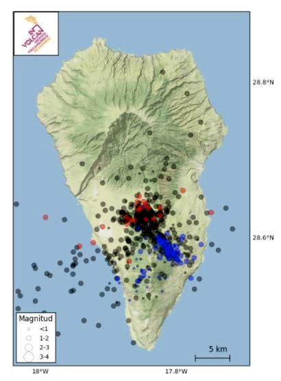 Seismic swarm on Cumbre Vieja / La Palma- in red, the earthquakes located in 2020 and 2021 in black; in blue, the previous earthquakes - Doc. 25.06.2021 InVolcan