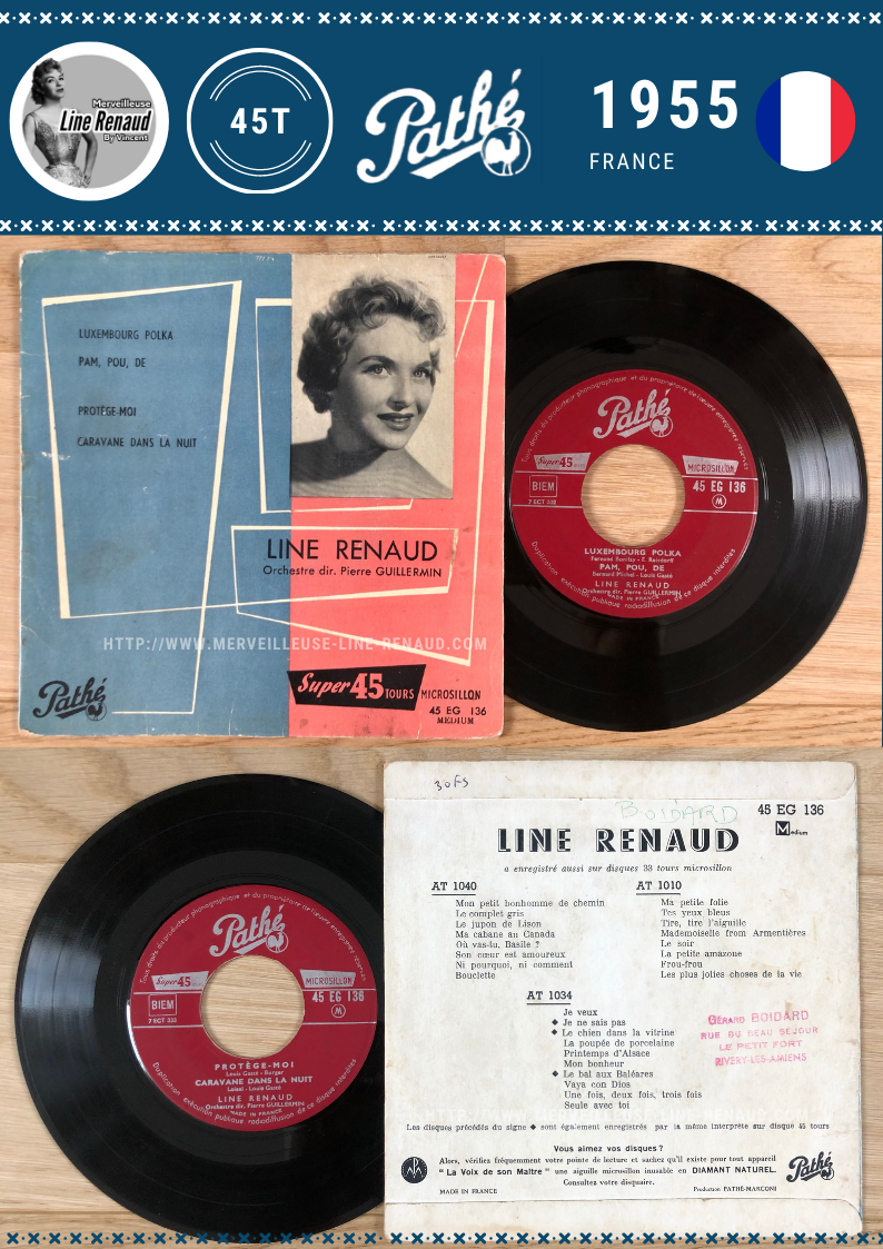 45 TOURS: 1955 Pathé - 45 EG 136 - Line Renaud