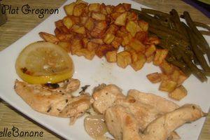 Fricassée de poulet au thym,citron ou quand grognon passe au fourneau