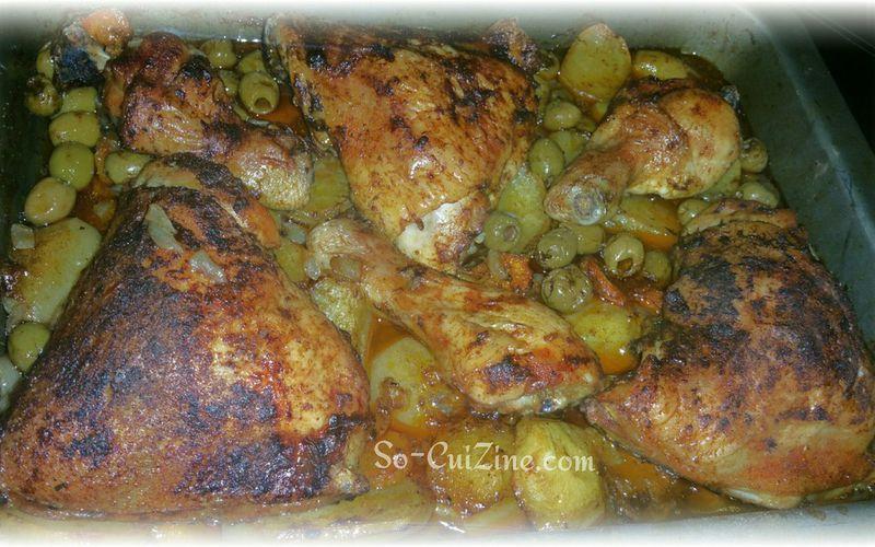 Tajine de poulet aux olives au four