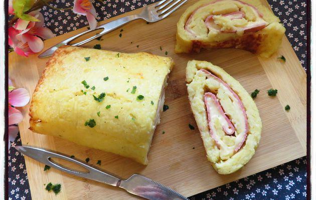Gâteau roulé de pommes de terre au jambon et à l'emmental