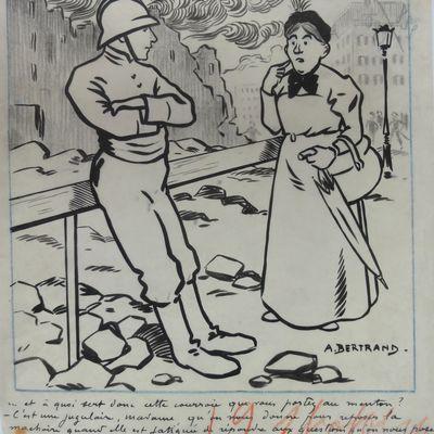 dessin encre de chine sur calque pompier au théatre  Albert Bertrand