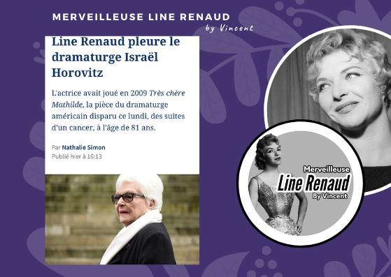 PRESSE WEB: Line Renaud pleure le dramaturge Israël Horovitz