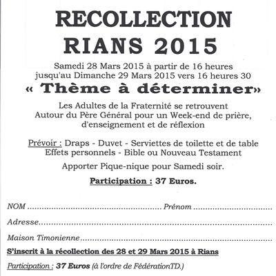 RÉCOLLECTION FRATERNITÉ ADULTES 2015