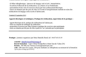 16-17 septembre 2010 - Françoise Estienne à Montpellier - Rééducation du langage orale et écrit