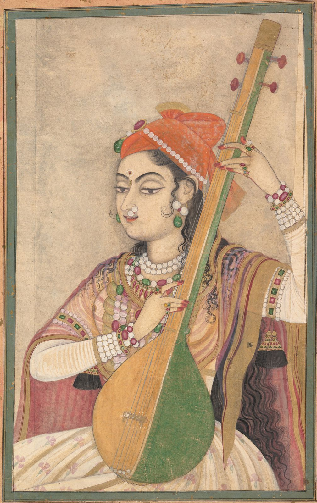 A Lady Playing the Tanpura, ca. 1735 India (Rajasthan, Kishangarh) Ink, opaque and transparent watercolor, and gold on paper 18 1/2 x 13 1/4 in. (47 x 33.7 cm) Fletcher Fund, 1996 (1996.100.1)