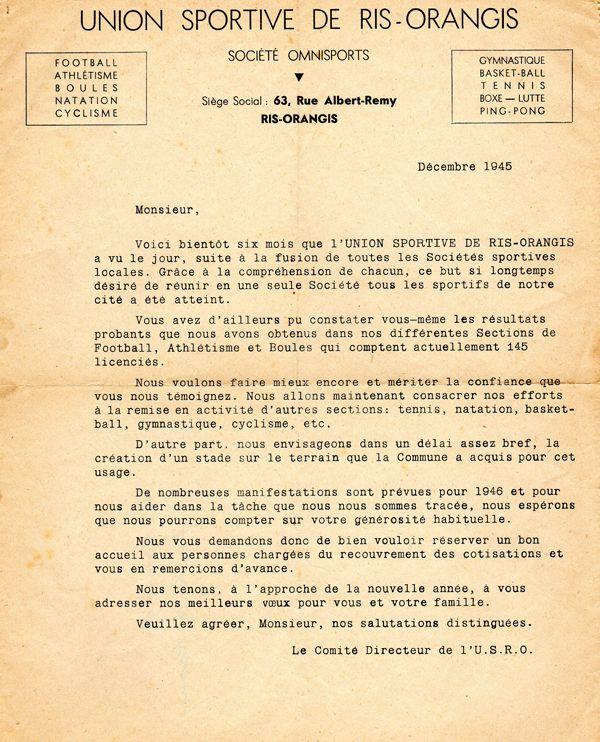 Courrier du Comité directeur de l'USRO au Maire de Ris-Orangis