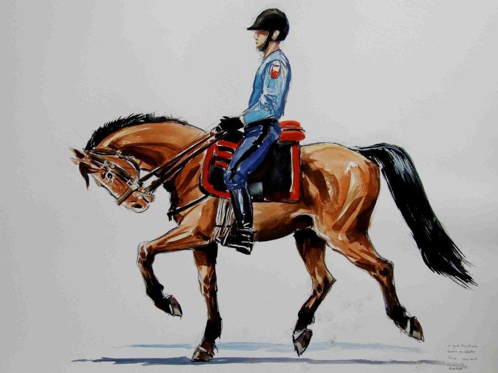 Le peintre, donnant de sa personne, peint les chevaux en live et dans le sacré-bon-sang de frigidaire qu'est le manège de la Garde.