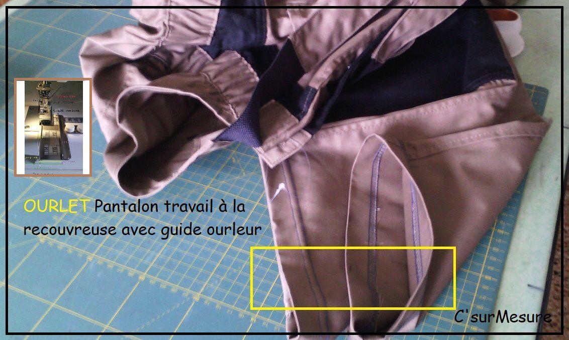 Montage : Ourlet Pantalon avec guide ourleur à la recouvreuse.