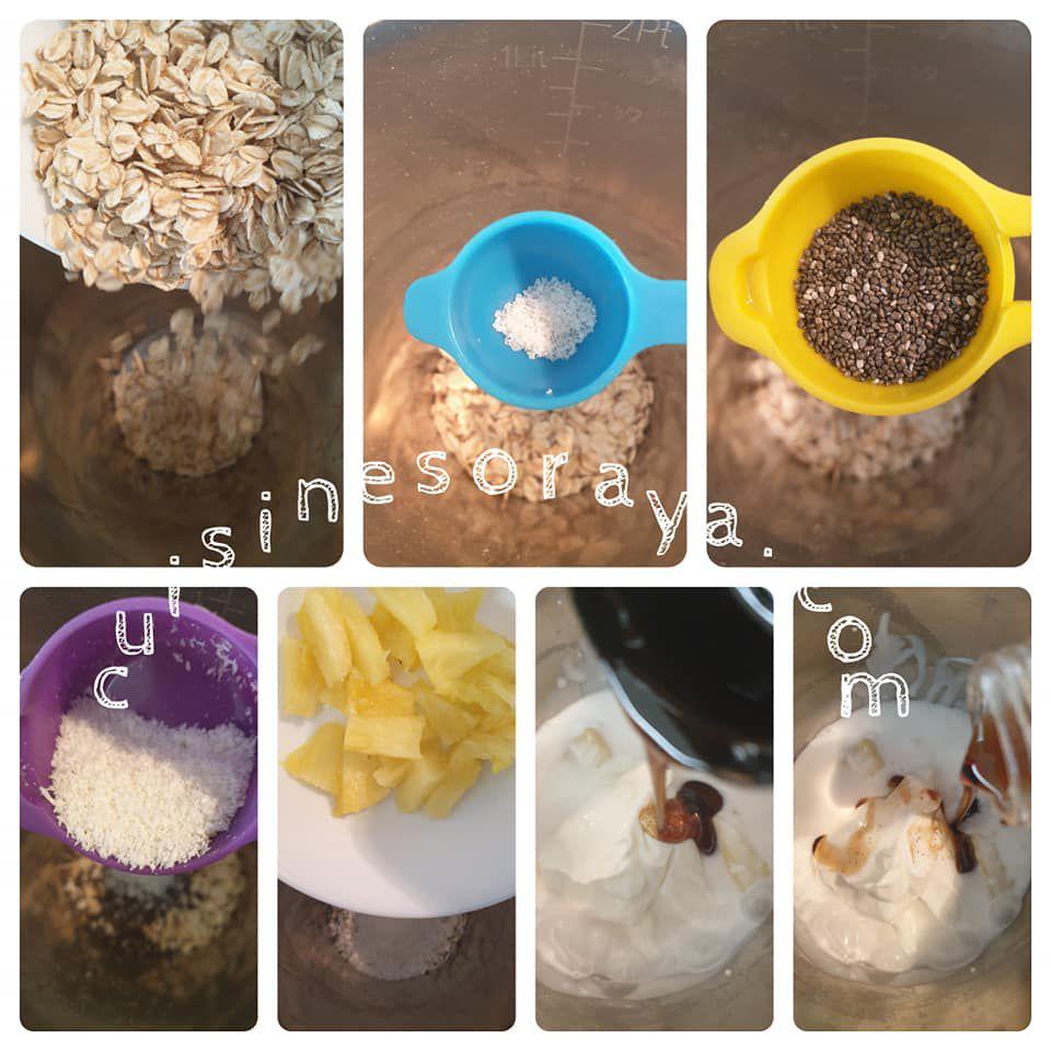 Trois Porridges du lendemain : Pina colada - Myrtilles - Chocolat/Banane