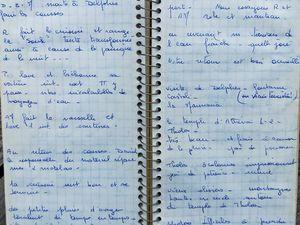 Notes de la fin de soirée du 9 Août  et du 10 Août 1970 dans le carnet de bord de Anne-Marie.