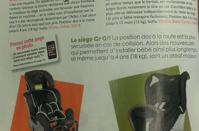 Le magazine famili dédie une page au Rear Facing !