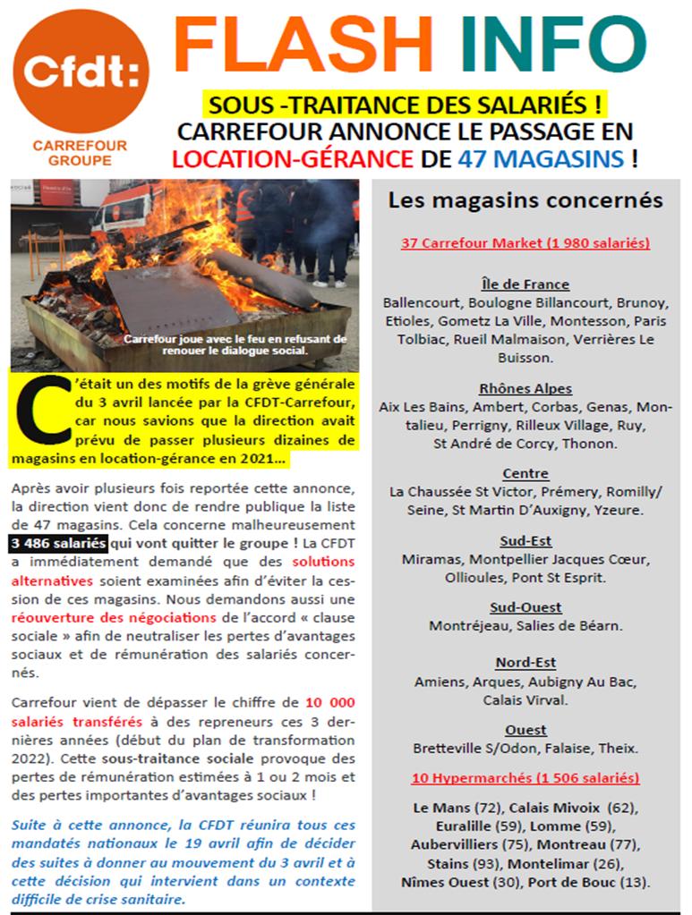 Le Groupe CARREFOUR ANNONCE LE PASSAGE EN LOCATION‐GÉRANCE DE 47 MAGASINS