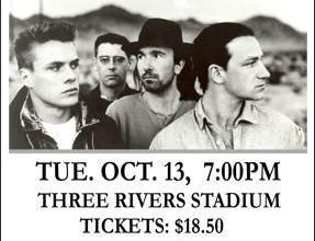 U2 -Affiche concert -Three Rivers Stadium -Pittsburgh -13/10/1987