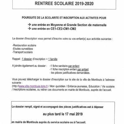 Inscriptions scolaires 2019-20