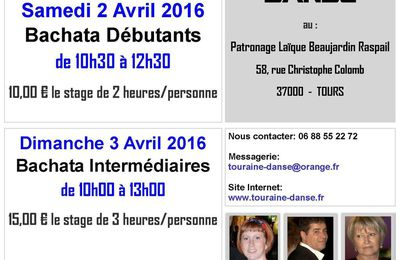 Stages de Danses de Salon - Avril 2016.