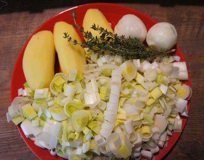 ingrédients de la soupe au poireaux et pommes de terre