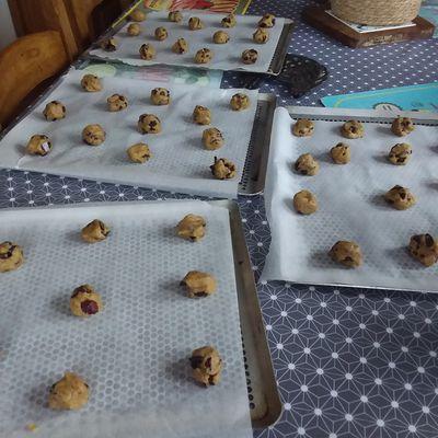 Cookies farine de noisettes, chocolat et cranberries