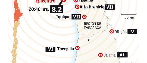 Début de tsunami au Chili après un fort séisme