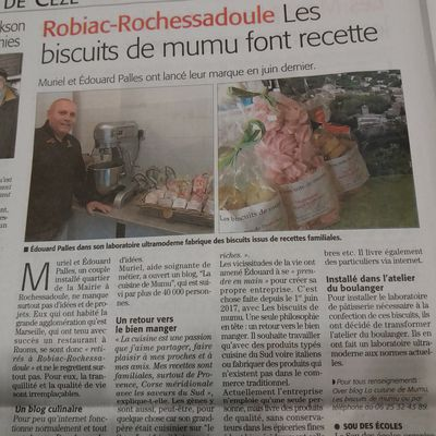 L'article du journal du Midi Libre sur les biscuits de mumu
