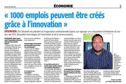 """Erol Elisabeth (Openit Martinique) : """"1000 emplois peuvent être créés grâce a l'innovation"""""""