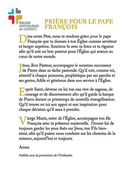Prière pour le pape François