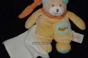doudou ours jaune baby nat mouchoir