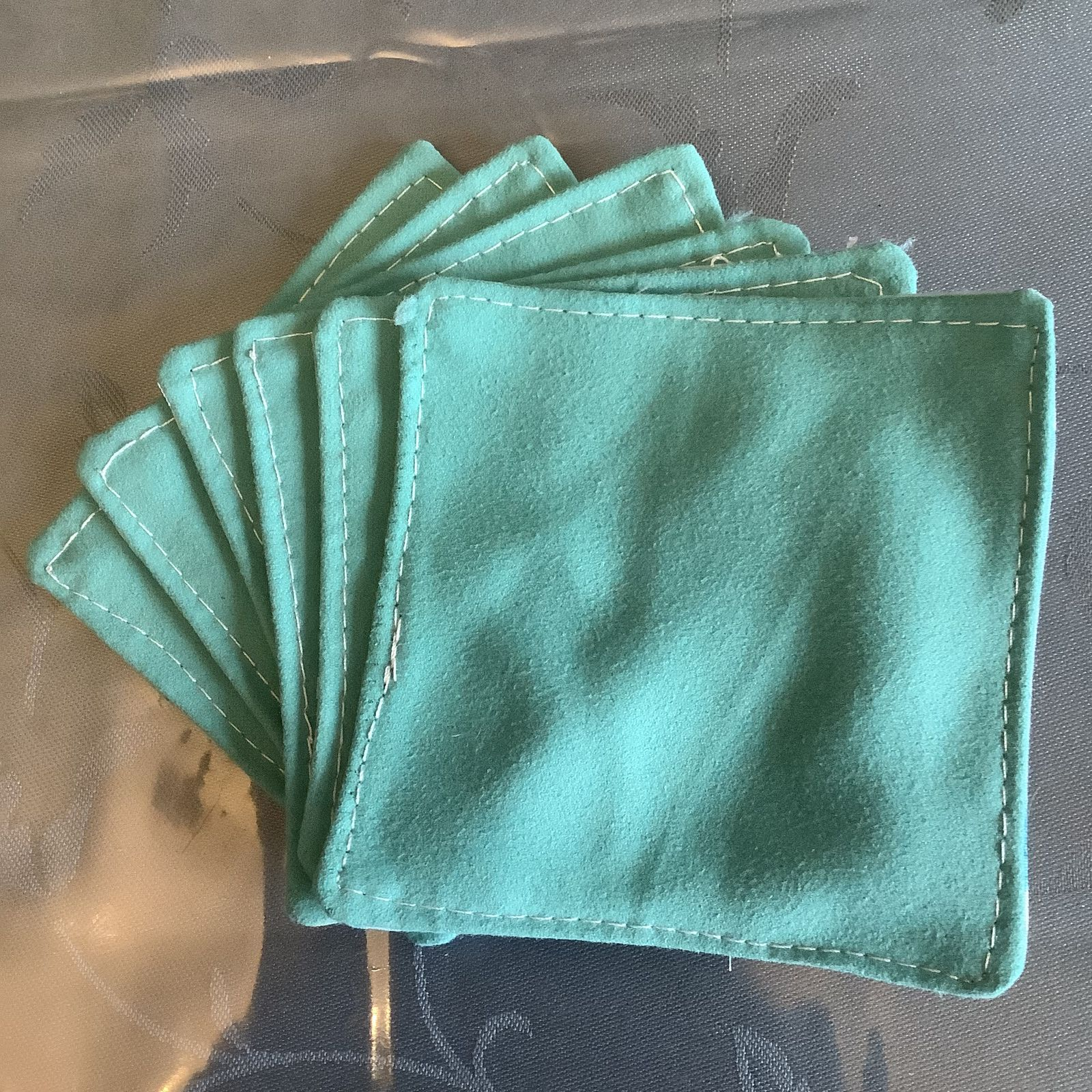 Couture: Petit ensemble de coton lavables et leur sachet bleu