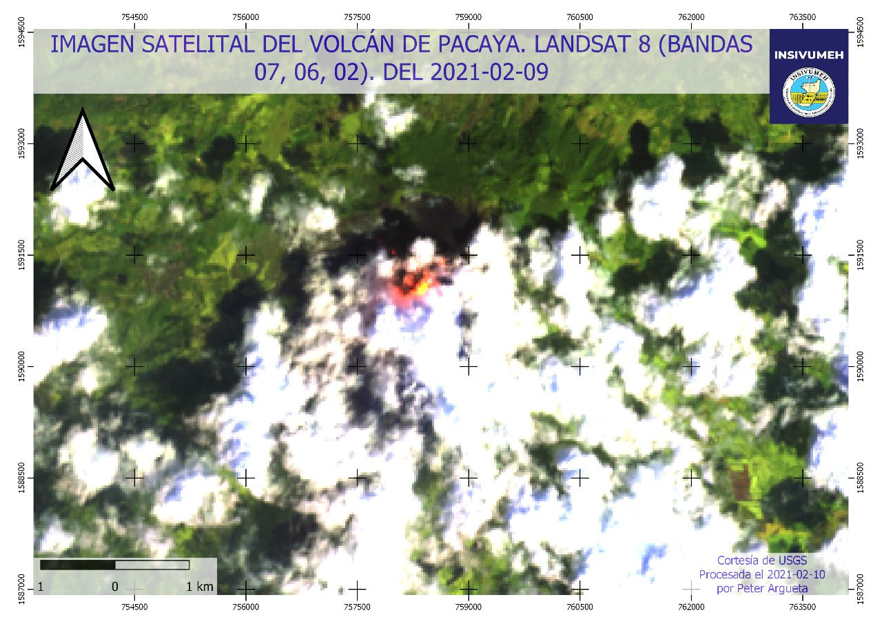 Pacaya - Sentinel-2 bands images 12,11,5 from 09.02.2021 - Doc. Insivumeh - one click to enlarge