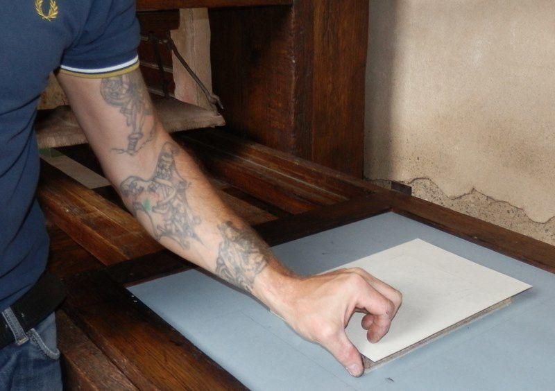 impression sur presse Gutenberg