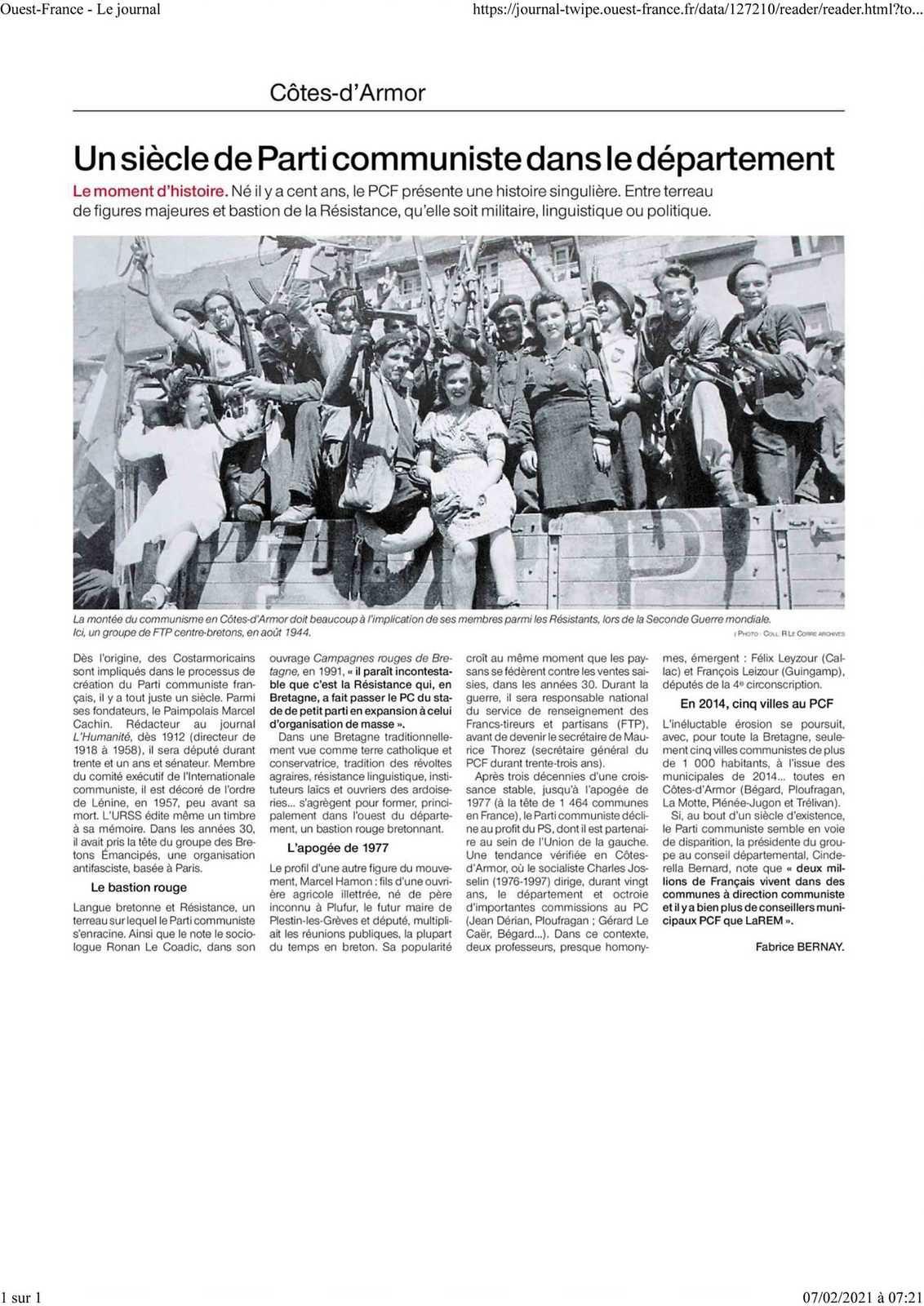Ouest-France, 7 février 2021 - Bel article dans le Ouest-France de dimanche: un siècle de communisme dans les Cotes d'Armor. Et l'histoire continue de d'écrire dans un département ou les communistes ont encore une influence électorale et une implantation réelles.