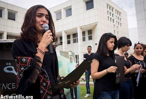 Etudiants juifs et arabes commémorent à l'université de Tel-Aviv la 65 ème « Nakba », la catastrophe du peuple palestinien
