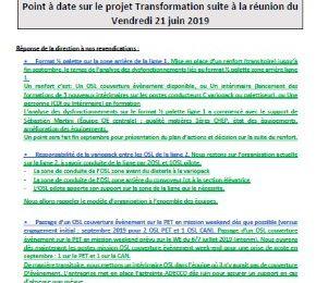 CCEP USINE DE GRIGNY / Vos conditions de travail sont en discussion Point à date sur le projet Transformation suite à la réunion du Vendredi 21 juin 2019