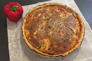 Tarte aux trois poivrons, chorizo et parmesan