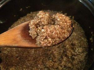 Salade de quinoa, carottes et hareng doux assaisonnée oignon vert, échalote, curry et citron.
